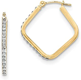 25mm x 23mm .01cttw Mia Diamonds 14K Rose Gold Rose Gold Diamond Fascination Flat Round Hoop Earrings