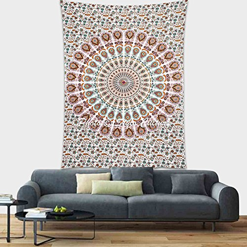 Stylo Culture Indian Wall Hanging Tapisserie Blanc Paon Plume Mur Décor Suspendus Linge de Lit Unique Imprimé Mandala Wall Decal
