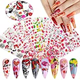 10 Sheets Valentine's Day Nail Art Foil, Kalolary Transfer Decals Nail Foils Nail Art Stickers Sexy Lip Heart Flower Nail Foil Designs Acrylic Nails Supply Starry Sky Manicure Tips Decoration
