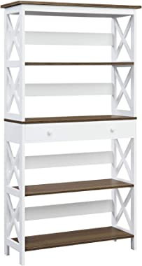 Convenience Concepts Oxford 5 Tier Bookcase with Drawer, Driftwood / White