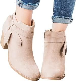 Womens Winter Stacked Block Heel Ankle Boots Tie Knot Side Zip Pumps Booties