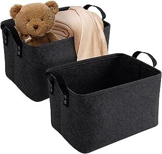 Ohiyoo Felt Storage Lot de 2 boîtes de rangement pliables en feutre pour étagère, linge, armoire, jouets ou papier toilett...