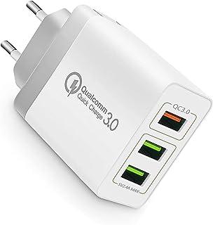3Puertos QC3.0 USB Cargador rápido Cargador Movil Universal Adaptador, 30W QC3.02.0 Smart Alimentador USB Adaptador de Ali...