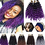 Afro Water Wave Crochet Hair Braids 8 Inch Short Synthetic Hair Marlybob Kinky Curly Bundles Extensions Ombre Jerry Curl Twist Hair Weave for Black Women 9 Bundles/Packs 2 Tones Black to Purple