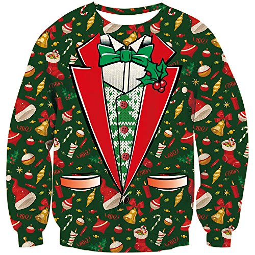 TUONROAD Mens Ugly Christmas Sweatshirt Fake Red White Suit Cardigan Green Bow Tie Small Gold Bells Balls Fashion Christmas Sweatshirt Family Matching Novelty Xmas Long Sleeve Pullover Jumper