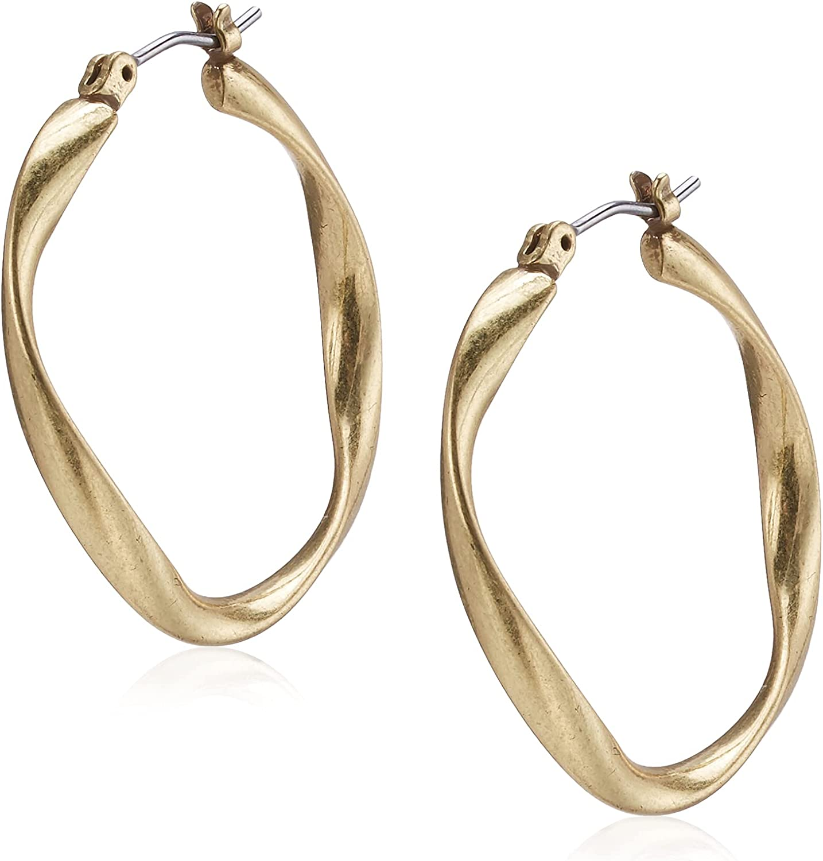 Lucky Brand Twist Hoop Earrings, Gold, One Size