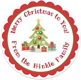 Personalized Christmas Tree Gift Stickers - Set of 20 Labels (GT37)