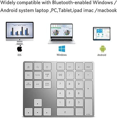 RENYAYA Numerische Bluetooth-Tastatur  tragbare  drahtlose  Externe Bluetooth-Taste mit 34 Tasten und Mehreren Abk rzungen f r Computer-Laptop-Tablet-Smartphone White