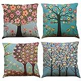 COFACE 4 Stück glückliche Bunte Bäume gedruckt Muster Kissenbezug 45X45cm Leinen-Baumwoll atmungsaktiv Kissenhülle Kopfkissenbezug (Muster B)