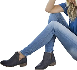 Womens Cutout Ankle Booties Slip on Chelsea Closed Toe Chunky Stacked Low Heel Boots