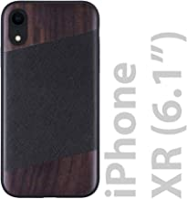 iATO iPhone XR Wood Case. Black Saffiano Genuine Leather & Real Bois de Rose Wood iPhone XR Case {Fully Protective Shockproof Bumper - No Screen Protector} iPhone XR Case Wood Grain