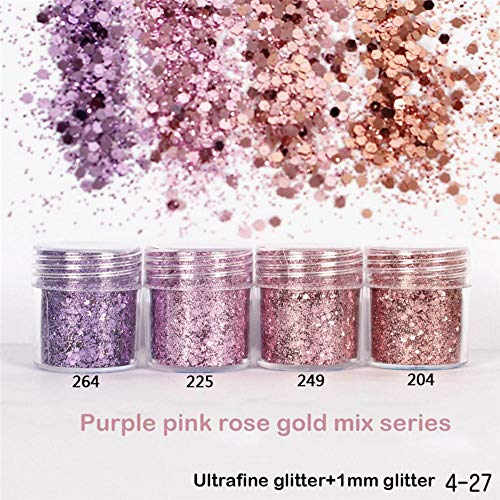 1 Pot Ongles Poudres Poudres Violet Rose Rose Or Couleurs Mix Série Multicolore Nail Art Sequin Brillant Ultrafine Nailart Glitter, 264 3 ml