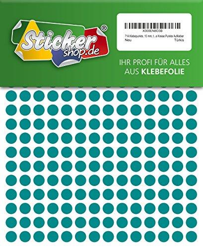 714 Klebepunkte, 10 mm, türkis, aus PVC Folie, wetterfest, Markierungspunkte Kreise Punkte Aufkleber