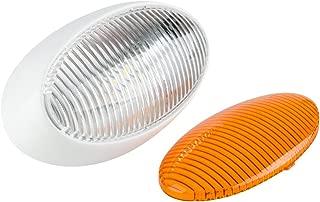 Lumitronics RV 12V LED Oval Porch Utility Light - Clear & Amber Lenses (White)