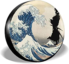 Cyloten Car Tire Cover Japan Samurai Sword Honor Spare Tire Cover Dust-Proof High-Density Wheel Tire Cover Scratch Resistance Fold-able Tire Set 3D Printed Wheel Accessories for RV SUV Trailer
