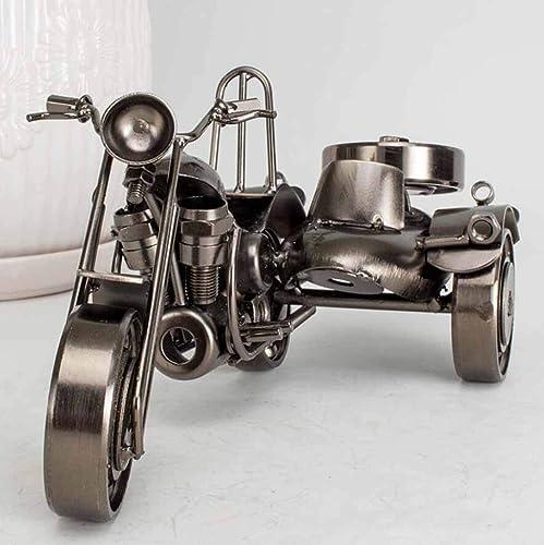 HURONG168 Voitures Véhicules Jouets Antique en fer forgé moto à trois roues antique voiture classique à trois roues antidérapante modèle de voiture classique à trois roues artisanat fait main collecti