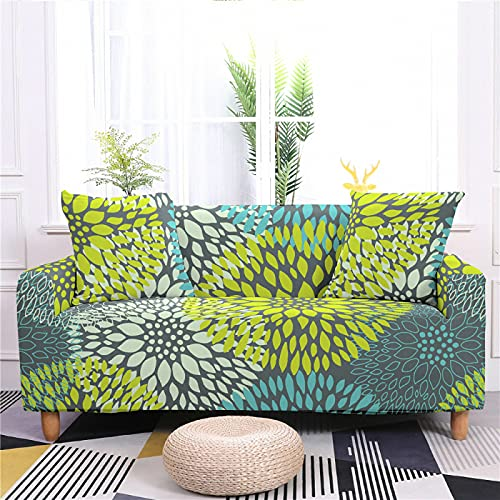 DHHY 3D Plant Print Pattern Sofa Cover, Polyester Fiber Knitted Stretch Sofa Cover, 1 2 3 4 Seats 3-seater 190-230cm