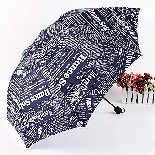 ShenMiDeTieChui Faltende Regenschirm kreative Zeitung Regenschirm Sonnenschirm DREI-Falten-Sonnenschirm-Regenschirm-Regenschirm-Geschenk-Regenschirm (Color : Blue)