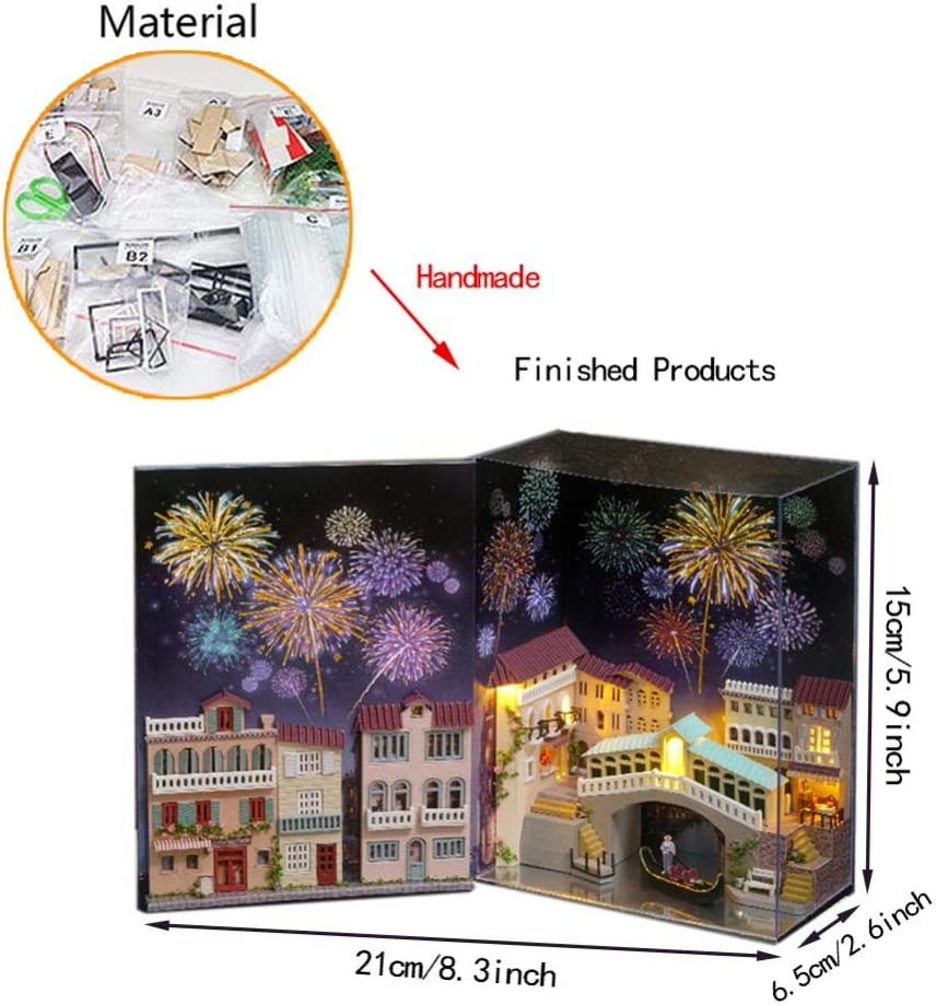 DIY Dollhouse Kit LED Lights Mini Book House World Dolls House with Dust Proof Furniture Puzzle Toy Model Hand Craft Creative Christmas Birthday Gift for Children Boy Girl Venice