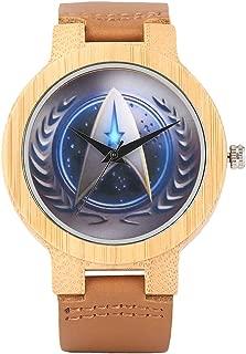 Star Trek Bamboo Wrist Watch, Men Handmade Nature Watches, Genuine Leather Band Bamboo Dr Who