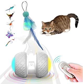 k-berho Remote Control/Robotic Cat Toys Interactive, Cat Toys for Indoor with Feather,Color Ribbon,Butterfly,Automatic Cat...