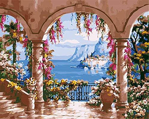 Wdsjxd Pintura por números, 16 x 20 cm, para adultos, lienzo K0inder hermoso paisaje en el mar jardín con marco