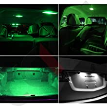 SCITOO LED Interior Lights 15pcs Green Package Kit Accessories Replacement for 2014-2016 Mazda 6