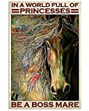 MG global - Be A Boss Mare In A World Full Of Princesses - Vaquera, Cowboy Gift - Arte de pared sin marco