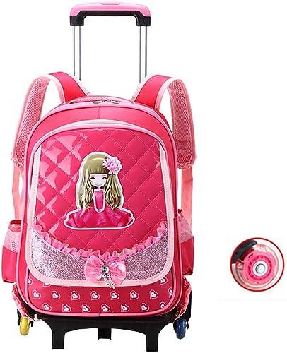 Trolley Rucksack Schultaschen Abnehmbarer Hebel Größe Kapazit Wasserdicht Paket für M er, Frauen Und Kinder Unterwegs- Rosa, 2 6 Rund,2wheels