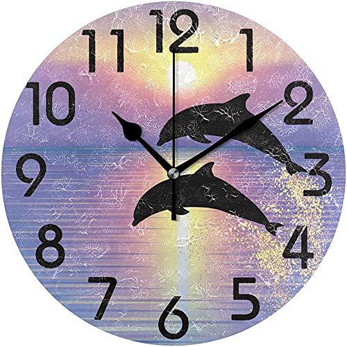 Cy-ril Belle Silhouette de Deux sautant par-Dessus Les Dauphins de l'océan Coucher de Soleil Impression Horloge Murale Ronde fonctionnant sur Batterie Calme Horloge de Bureau