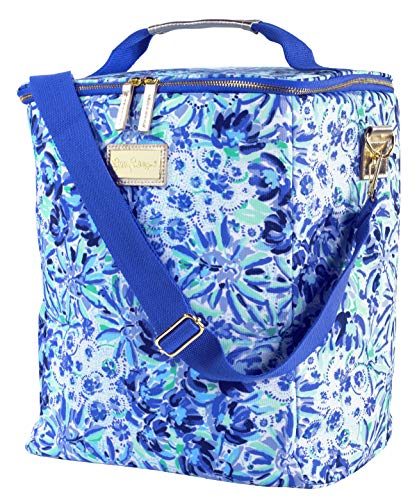 Lilly Pulitzer Blue Insulated Wine Carrier Soft Cooler with Adjustable/Removable Strap and Double Zipper Close, Holds up to 4 Bottles of Wine, High Manetenance