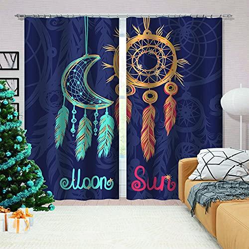 LJUKO Cortina Opaca en Cocina el Salon dormitorios habitación Infantil 3D Impresión Digital Ojales Cortinas termica - 234x138 cm - Dibujos Animados Azul atrapasueños niños