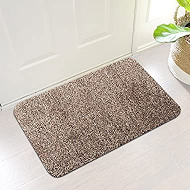 Indoor Super Absorbs Mud Doormat Latex Backing Non Slip Door Mat for Small Front Door Inside Floor Dirt Trapper Mats Cotton Entrance Rug 18 x 28  Shoes Scraper Machine Washable Carpet Brownish Tan