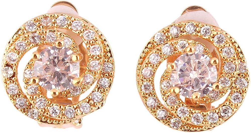 HAPPYAN Women's Bridal Wedding Copper AAA Cubic Zircon Material Clip on Earrings No Pierced for Women Charm Ear Clip