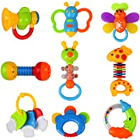 9 Piece Beebeerun Baby Toys, Rattles, Teether and Shakers