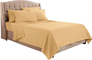 Clara Clark Premier 1800 Collection Bed Sheet Set with Extra Pillowcases Wrinkle, Fade & Stain Resistant, King, Camel Gold