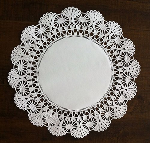 The Baker Celebrations Round paper Lace Table Doilies – 4 5 6 8 10 and 12 inch Assorted Sizes White Decorative Tableware Placemats (Variety pack of 120 – 20 of each)
