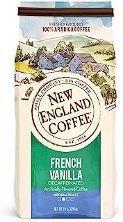 New England Coffee French Vanilla, Decaffeinated Medium Roast Ground Coffee, 10 Ounce Bag