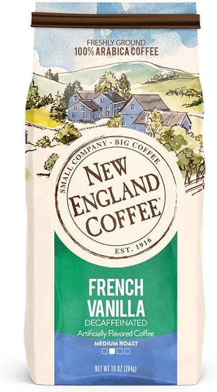 New England Coffee French Vanilla Decaffeinated Medium Roast Ground Coffee 10 Ounce Bag
