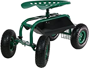 Sunnydaze Rolling Gardening Chair Cart with Wheels - Full Range 360 Swivel Seat with Adjustable Height - Utility Tool Tray...