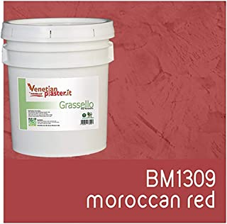FirmoLux Grassello Authentic Venetian Plaster | Polished Plaster | Made in Italy from Lime, Marble & Other Natural Aggregates | Light Colors (25) | Color: BM1309 Moroccan Red