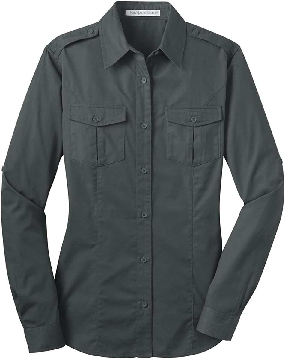 Port Authority Ladies Stain-Resistant Roll Fashion Translated Twill Shirt. L Sleeve