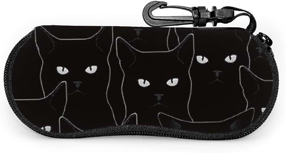 Black Cat Sunglasses Soft Case Zipper Eyeglass Case Protective Holder With Belt Clip