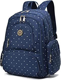 Qimiaobaby Multi-Function Baby Diaper Bag Backpack with Changing Pad and Portable Insulated Pocket (Blue dots)
