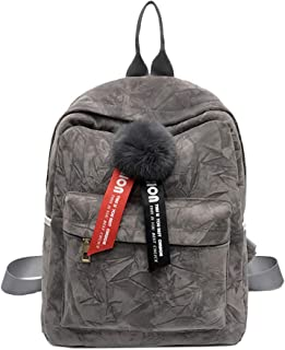 Howoo Damen Herbst Winter Wildleder Quaste Mode Rucksack Lässige Daypack Schultasche grau