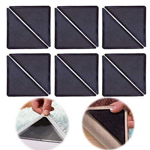 Antirutschmatte für Teppich – Gummi Gripper Pads für Teppiche, Teppichunterleger, Anti Curling, Anti-Rutsch-Teppich für Fliesenböden, Teppiche, Bodenmatten, Hartholzböden12 Stück