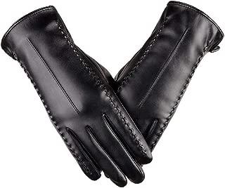 SGJFZD Winter Women Gloves PU Leather Windproof Driving Touch Screen Elegant Outdoor Gloves Windbreak Gloves (Color : Black, Size : XL)