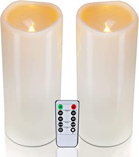 """Homemory 4"""" x 10"""" Waterproof Outdoor Flameless Candles, Battery Operated Flickering LED Pillar Candles with Remote and Timers for Indoor Outdoor Lanterns, Long Lasting, Large, Set of 2"""