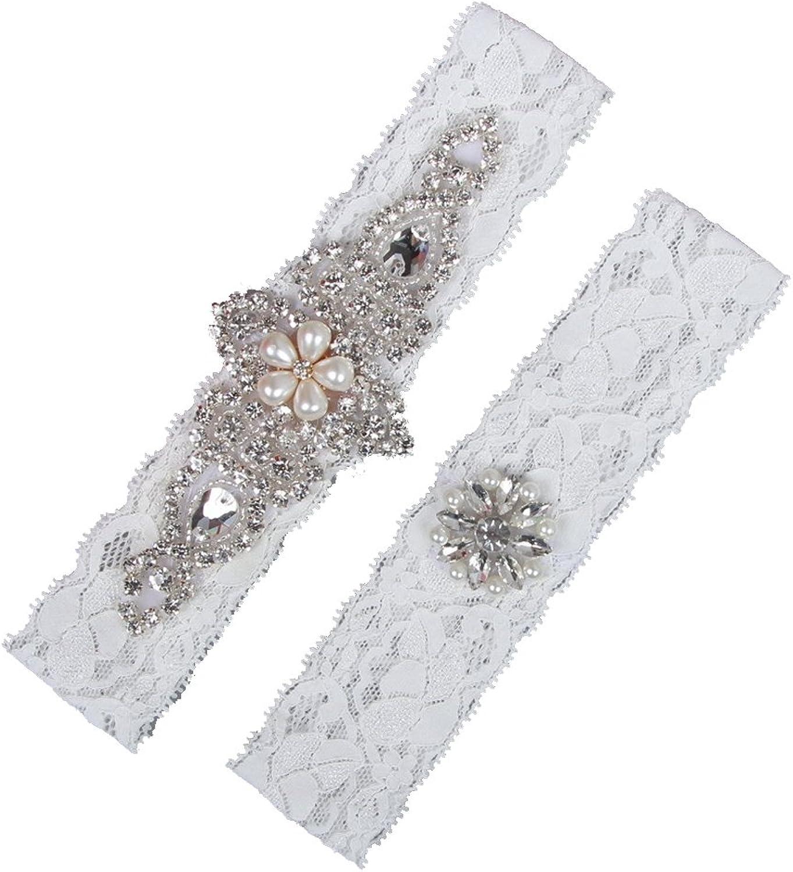 HETOINY 2 Pieces Lace Wedding Bridal Garter Set Handmade Flower Rhinestones Pearls Vintage Bridal Leg Garters