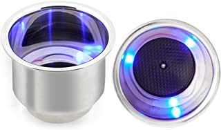 Blue LED Stainless Steel Cup Holder - 2 Pieces Beverage Car Bottle Cup Holders for Auto Vehicle, Luminous Movable Drink Base with Drain for Car Boat Marine